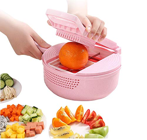 Vegetable Mandoline Slicer- 13 in 1 Vegetable Spiralizer Cutter and Shredder - Kitchen Multipurpose Julienne Grater with Leakage function for washing vegetables and Egg Separator -Food Dicer. (Pink)…
