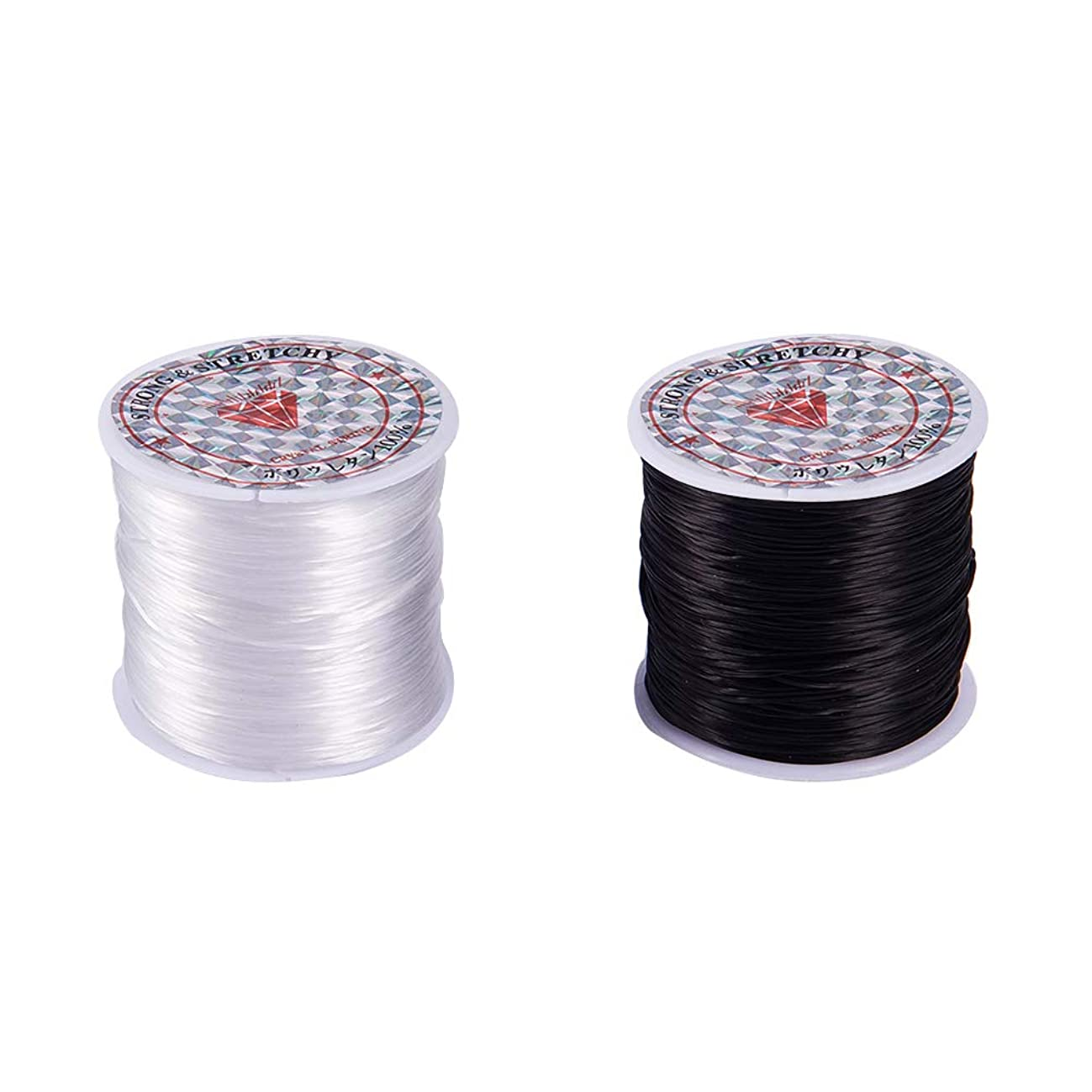 PH PandaHall 2 Roll 1mm Clear White & Black Elastic Stretch String Cord Jewelry Making Bracelet Beading Thread (60m/Roll)