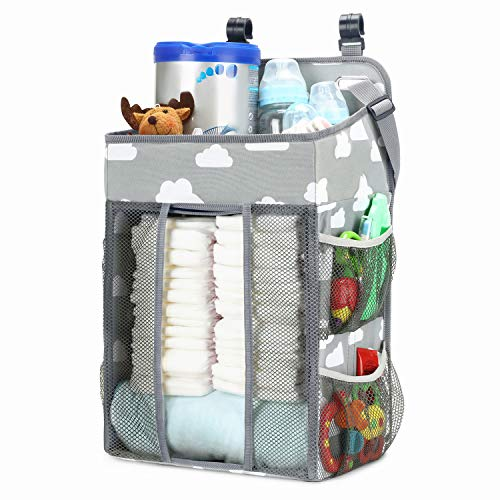 Magicfly Bolsa para Cuna Multifuncional, Organizador Colgante de Pañales de Bebé, Bolsa de Almacenamiento para Habitación de Bebés con Estampado de Nubes, Gris