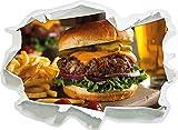 Stil.Zeit Saftiger Chili Cheese Burger, Papier 3D-Wandsticker Format: 92x67 cm Wanddekoration 3D-Wandaufkleber Wandtattoo