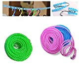 ZYZ 3 Pcs Travel Windproof Clothesline 26.2 Ft with Plastic Wire Clip Portable Non Slip Clothes Rope Hanger Indoor Outdoor Camping Home Hotel