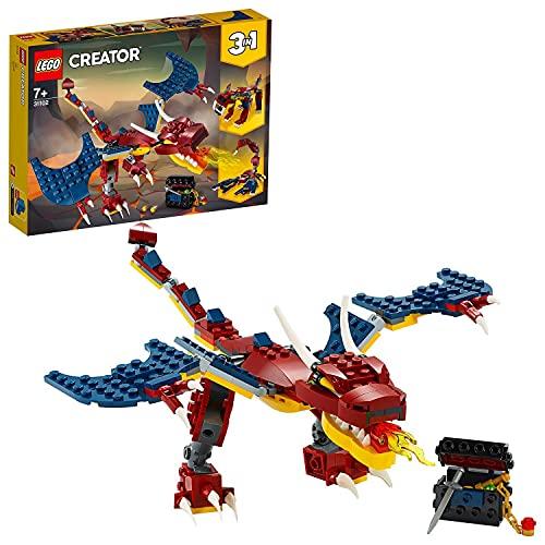 LEGO 31102 Creator 3-in-1 Feuerdrache, Feuerdrache - Säbelzahntiger - Skorpion Bauset, Spielzeug mit realen und mythischen Kreaturen