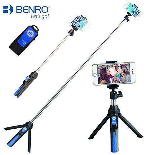BENRO Handheld Tripod 3 in 1 Self-portrait Monopod Extendable Phone Selfie Stick with Built-in Bluetooth Remote Shutter - Blue