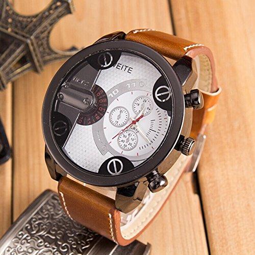 Reloj de pulsera para hombre Liusdh Mode Luxus, analógico, deportivo, carcasa de acero, cuarzo, correa de piel (B-59,talla única)