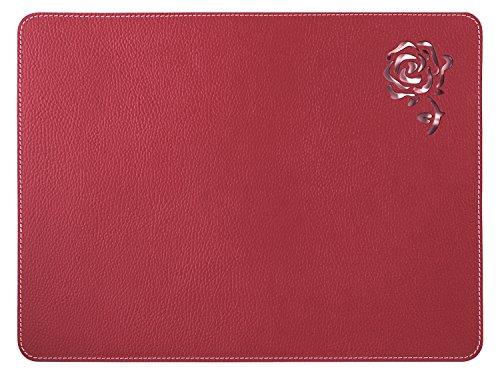 Nikalaz Set de Table, Rectangle, Rouge, en Cuir Naturel Recyclé, Stylisée avec Une Rose au Laser, 40 x 30 cm (Rouge)