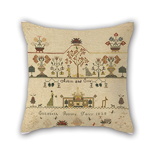 DEFFWBb Throw Pillow Covers of Oil Painting Elizabeth Rowe Terry, American - Sampler 18 X 18 Inches / 45 by 45 Cm,Best Fit For Seat,Play Room,Saloon,Outdoor,Saloon,Bar Seat Twice Sides