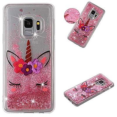 HopMore Silicona Funda para Samsung Galaxy S9 Glitter Liquido 3D Brillante Purpurina Motivo Transparente Dibujo Carcasa Resistente Ultrafina Antigolpes Caso Protección Soft Case Cover - Unicornio