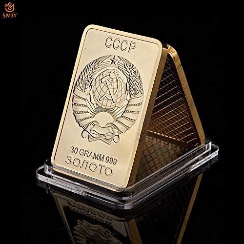 Rusia URSS emblema nacional CCCP 30 Gramm 999 barra de lingotes chapada en oro mapa de México colección de monedas de medallón de metal de recuerdo