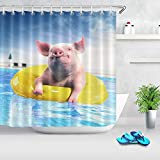 floolter Schwein Bad Duschvorhang Tier Lustige Schwimmbad Schweinchen Duschvorhänge Home Dekorative wasserdichte Stoff Duschvorhang 180 × 180 cm