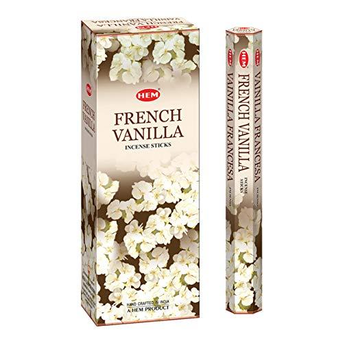 SAUM 6er Pack 20 Steck Französische Vanille - Feld von sechs 20 Steck Rohre, 120 Stäbe Gesamt - Saum Weihrauch