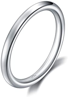 925 Sterling Silver Ring High Polish Plain Dome Tarnish Resistant Comfort Fit Wedding Band 2mm Ring 4-12