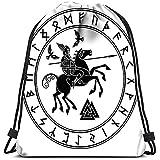 Zaino con Coulisse God Wotan in Sella a Cavallo Sleipnir con Lancia e Due Corvi nel Cerchio di Rune nordiche Borsa da Lavanderia Borsa da Palestra
