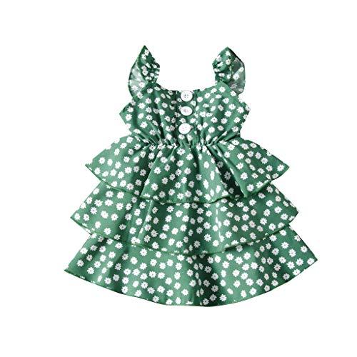 LEXUPE Kleinkind Kinder Baby Mädchen Ärmelloses Rüschen Blumen Prinzessin Kleid(Grün,120)