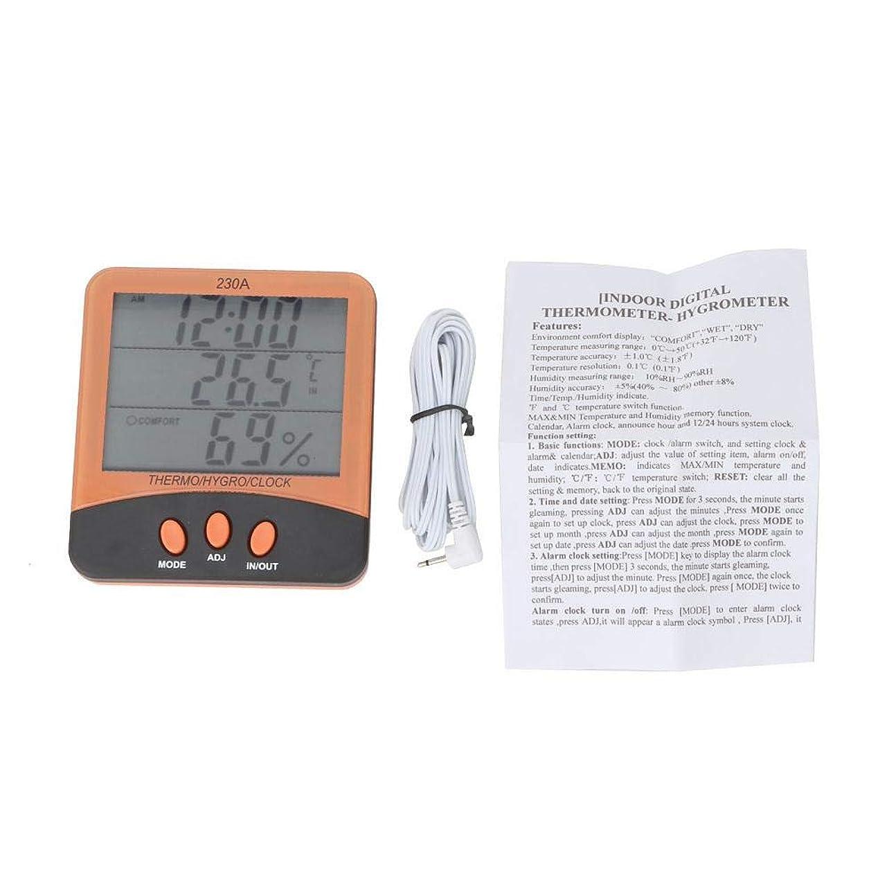 多年生案件ハイジャック温度計湿度計目覚まし時計YITENSEN VC230A屋内屋外℃/℉温度計デジタルLCD湿度計ゲージメーター