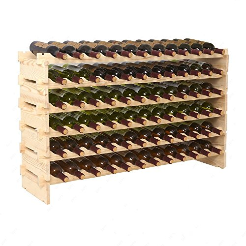 FixtureDisplays Stackable Modular Wine Rack Stackable Storage Stand Display Shelves, Pine Wood, (72 Bottle Capacity, 6 Rows x 12) 16931