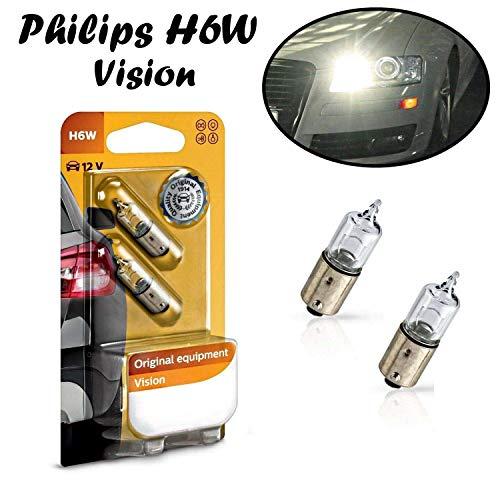 2x Philips H6W 12V BAX9S 12036B2 Vision - mehr Licht Weiß Hecklicht Parklicht Rückfahrlicht Standlicht Kennzeichenlicht Einrichtunglicht Ersatz Halogen Auto Lampe E-geprüft