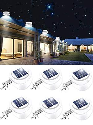 Solar Gutter Lights, Outdoor 9 LED Fence Light Waterproof Wall Lamps for Eaves Garden Landscape Pathway