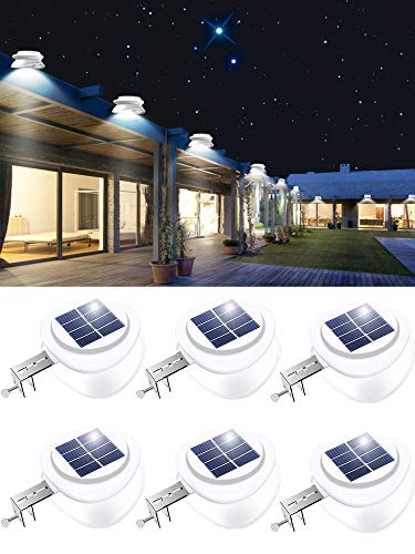 ROSHWEY Solar Lights Outdoor, 9 LED Fence Lights Waterproof Deck Lights Gutter Lights for Eaves Garden Landscape Pathway (Cool White, 6 Pack)