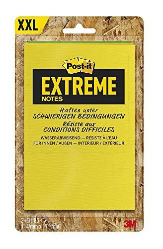 Post-it Extreme Notes - Selbstklebende Haftnotizzettel (in 114 x 171 mm) 2 Blöcke á 25 Blatt gelb/grün, orange/grün oder orange/gelb