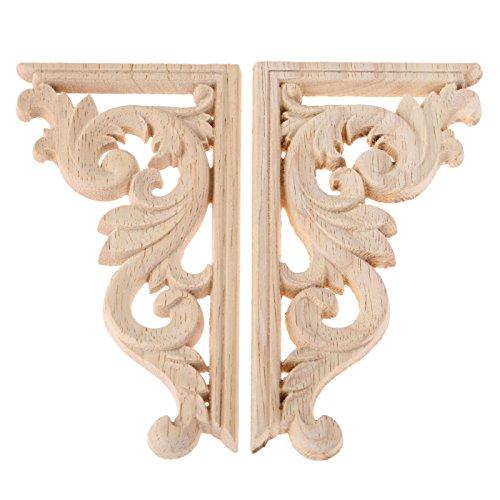 2pcs links+rechts(pro 1pcs) Vintage skulptur aus Holz Corner Flourish Decoration ohne Lack Gipüre Wand Möbel