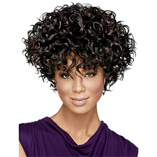 YX Natural Curly Synthetic African American Afro Wig With Bangs Short Wigs For Black Women (blonde)