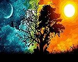 WISKALON DIY Dipinto ad Olio Dipinto con i Numeri, Dipingere con i Numeri Kit su Tela per Adulti Bambini Principianti con Pennelli e Colori Senza Cornice, Sole e Luna Albero 16 * 20 Pollici