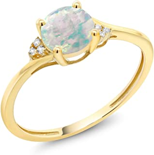 Gem Stone King 10K Yellow Gold Cabochon White Simulated Opal and Diamond Accent Women's Engagement Ring (0.35 Cttw, Available 5,6,7,8,9)