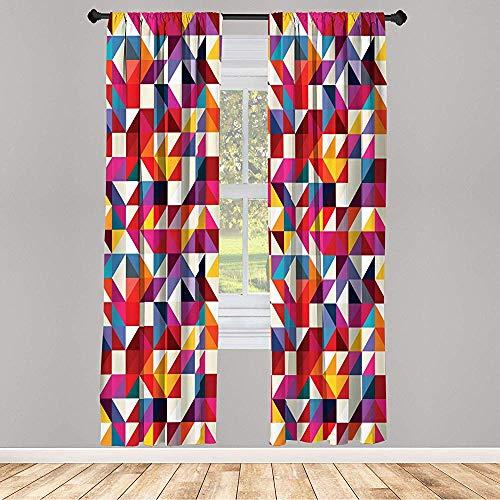 Cy-ril Juego de Cortinas Opacas de 2 Paneles Patrón geométrico Estilo Bauhaus con Mosaico de Formas Triangulares y de Diamante 52 X 72 Pulgadas Multicolor