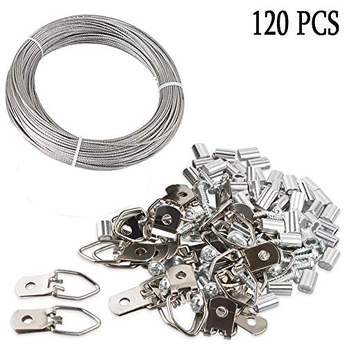 120 Stück Aufhänger für Bilder Draht, Bilderrahmen Hanging Wire Kit, Geflochtene Edelstahl Vinyl beschichtete Drahtspule 30m, 30 Teile D-Ring-Bildaufhänge, 30 Schrauben, 30 Crimp-Röhrchen