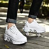 qmj Patines 4 Ruedas Niña Patines Ajustables Deform Patins Kickroller Shoes Roller Shoes Tenis con Ruedas,White-EU38/UK4.5