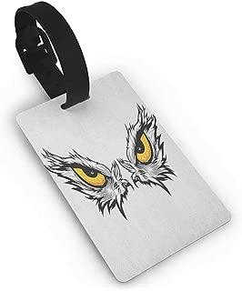 New Suitcase Luggage Tags Eye,Aggressive Gaze of a Bird of Prey Cartoon Mascot Hunter Falcon Eagle Hawk, Pale Grey Marigold Black One Size Tag Portable Women