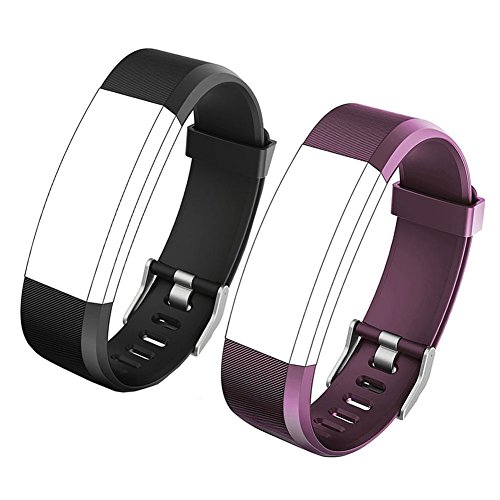 REDGO ID115Plus HR Replacement Band, Fitness Tracker Straps for ID115 Plus HR Bracelet, ID115HR Plus Pedometer, Not for ID115 or ID115HR, Black, Purple