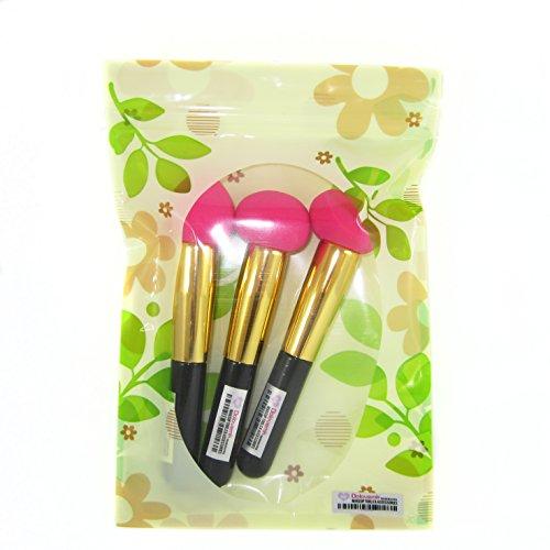 DOLOVEMK Lot de 3 éponges de maquillage sans latex pour application de fond de teint et poudre 50 g Longueur environ 13,5 cm Rose
