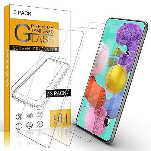 Migeec [3 Stück Panzerglas Kompatibel mit Samsung Galaxy A51 Schutzfolie Anti-Kratzen, Anti-Öl, Anti-Bläschen, Hülle Freundllich
