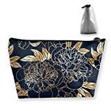 Patrón floral con contorno dorado ramos de peonía flores grandes bolsa de maquillaje bolso organizador para mujer
