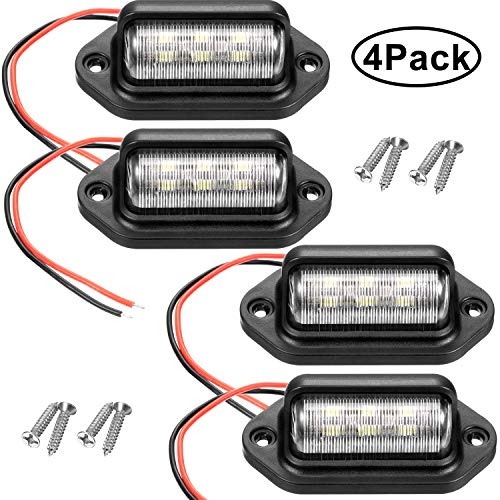 12V 6 LED License Plate Light Waterproof License Plate Lamp Taillight for Truck SUV Trailer Van RV Trucks and Boats License Tags (4 Packs)