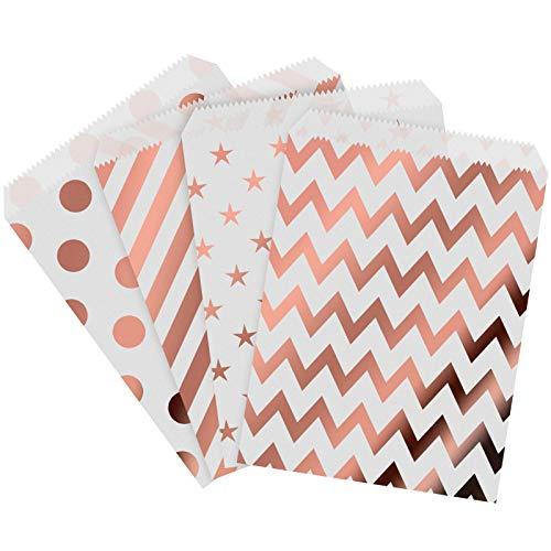 Migimi 100 bolsas de papel para caramelos o dulces, 4 diseños diferentes (oro rosa)