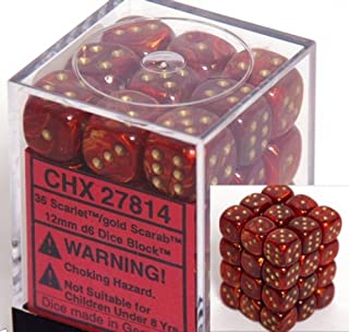 Chessex Dice d6 Sets: Scarab Scarlet with Gold - 12mm Six Sided Die (36) Block of Dice