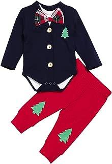 3Pcs Baby Boy Christmas Outfits Baby Gentleman Suit Long-Sleeve Cardigan+Bow Tie Romper Bodysuit+Pants Newborn Clothing Set