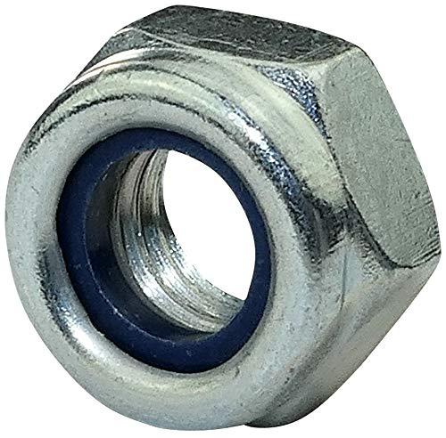 AERZETIX - Juego de 10 - Tuercas hexagonales de bloqueo - Tuercas autoblocantes con anillo de nylon - Metálico/Separado/Ensamblaje - Rosca M8 Métrica Hembra - DIN 985 - Acero galvanizado 5.8 - C45761