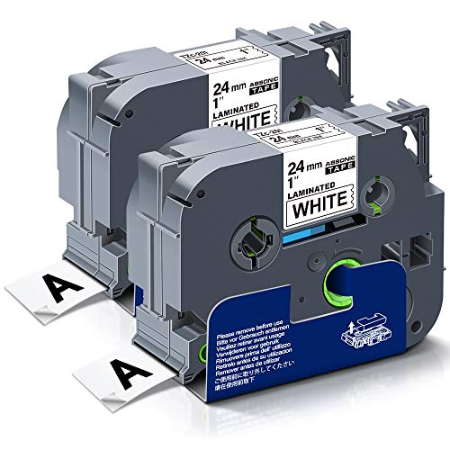 """Absonic Compatible Label Tape Replacement for Brother Tze-251 Tze251 Tz-251 Tz251 Tze 24mm 0.94"""" Laminated White Tape for PT-D600 PT-P700 PT-P710BT PT-P750W PT-2730, 1"""" x 26.2"""" Black on White, 2-Pack"""