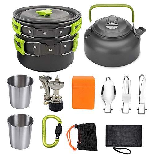 Sbeautli Conjunto al Aire Libre de la Caldera Cabeza Tetera con Combinación Copa Equipo portátil Estufa de Camping Cooker para Picnic Mochilero (Color : Green)