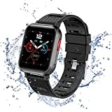 ISZPLUSH Smart Watch, Fitness Smartwatch with Blood Pressure Monitor, Activity Tracker with 1.3' Touch Screen, IP68 Waterproof Pedometer Smartwatch for Android and iOS, for Women and Men (Black)