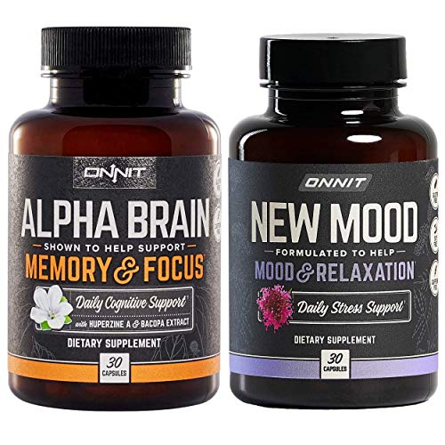 ONNIT Nootropic Stack - Alpha Brain (30ct) + New Mood (30ct)