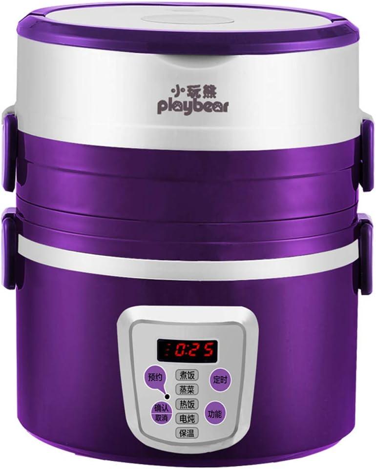 Calentador eléctrico de alimentos para fiambreras con contenedor de acero inoxidable extraíble, fiambrera eléctrica con estante de cocción al vapor de huevo, cajas Bento con temporizador y manija