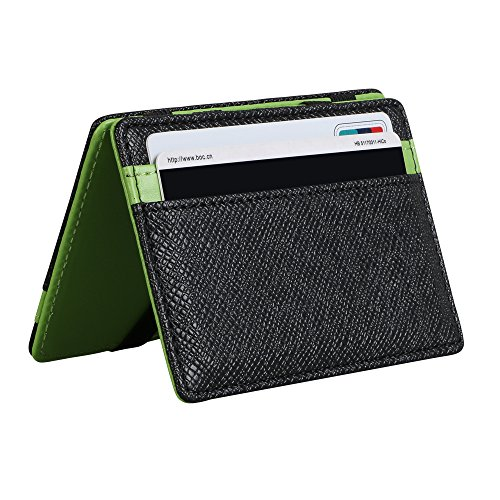 * Super Slim Bi-Fold tirón de la carpeta. Es muy versátil. Tamaño: Aproximadamente 10,2 cm x 7,2 cm x 0,8 cm * Estilo sencillo y Moda, cuero suave y cómodo. Una billetera compacta para llevar boletos, tarjetas de crédito o tarjetas de negocios * La b...
