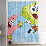 LIUYAN Duschvorhang mit Haken – Spongebob & Patrick Wasserdichter Polyester-Stoff für das Badezimmer, 152,4 x 182,9 cm