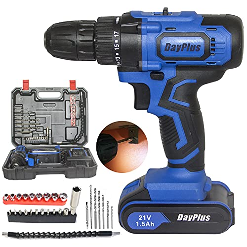 Cordless Combi Drill Driver Set, 21V 1500mAh Li-Ion Battery, Built-in Tail Manual Hammer and Magnet Function, 2 Speed Control, Forward/Reverse Switch, LED Light, 29 Piece Accessory Kit in Carry Case