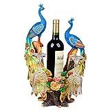Bird Wine Rack Decoración Sala de Estar Vinoteca Decoración Regalo de Boda Lista Creativa Regalo, Resina Tallada a Mano, Pintura