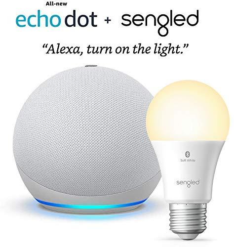 All-new Echo Dot (4th Gen) – Glacier White – bundle...